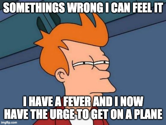 Futurama Fry Meme | SOMETHINGS WRONG I CAN FEEL IT I HAVE A FEVER AND I NOW HAVE THE URGE TO GET ON A PLANE | image tagged in memes,futurama fry | made w/ Imgflip meme maker