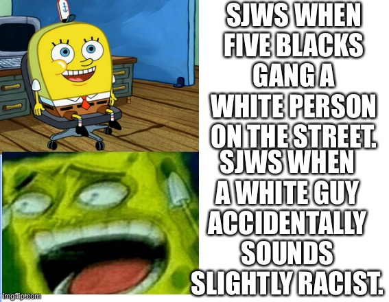 This is explains them so well lmao |  SJWS WHEN FIVE BLACKS GANG A WHITE PERSON ON THE STREET. SJWS WHEN A WHITE GUY ACCIDENTALLY SOUNDS SLIGHTLY RACIST. | image tagged in racism,buzzfeed,double standards,so true memes,logic | made w/ Imgflip meme maker