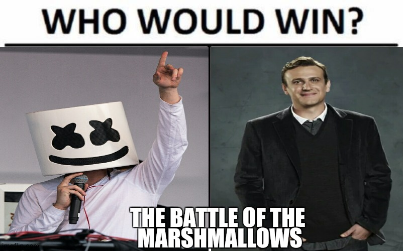 Marshmallow |  THE BATTLE OF THE  MARSHMALLOWS | image tagged in himym,marshmallow,memes,funny memes,how i met your mother,friends | made w/ Imgflip meme maker