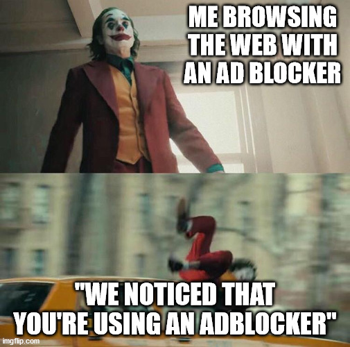 "Joaquin Phoenix Joker Car |  ME BROWSING THE WEB WITH AN AD BLOCKER; ""WE NOTICED THAT YOU'RE USING AN ADBLOCKER"" 