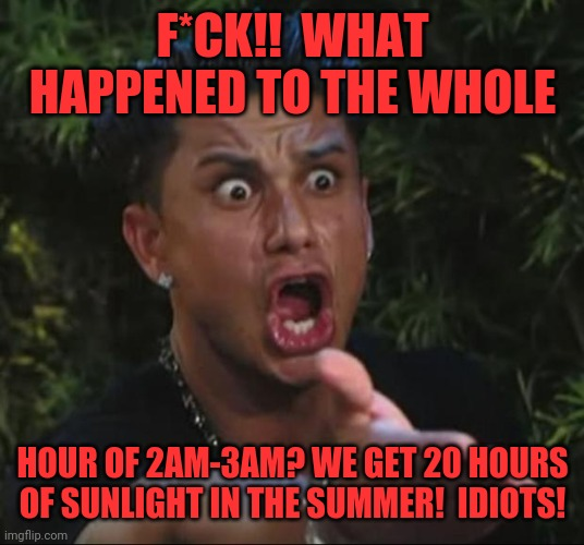 DJ Pauly D | F*CK!!  WHAT HAPPENED TO THE WHOLE HOUR OF 2AM-3AM? WE GET 20 HOURS OF SUNLIGHT IN THE SUMMER!  IDIOTS! | image tagged in memes,dj pauly d | made w/ Imgflip meme maker