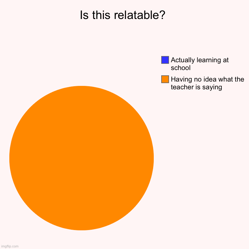 Is this relatable? | Having no idea what the teacher is saying, Actually learning at school | image tagged in charts,pie charts | made w/ Imgflip chart maker