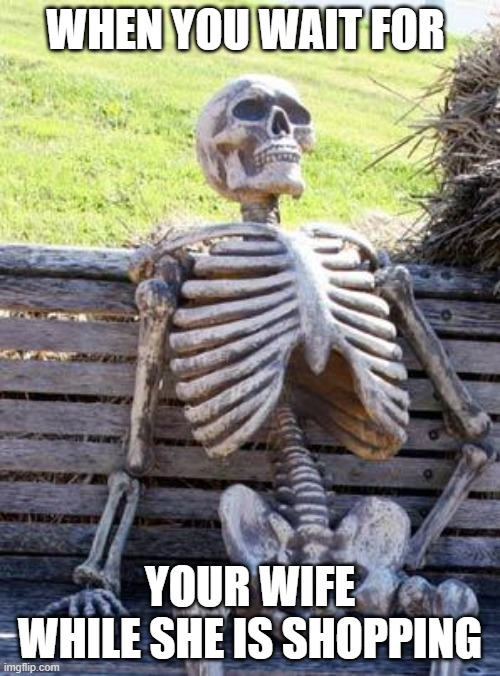 Waiting Skeleton |  WHEN YOU WAIT FOR; YOUR WIFE WHILE SHE IS SHOPPING | image tagged in memes,waiting skeleton | made w/ Imgflip meme maker