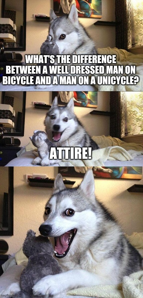 Bad Pun Dog |  WHAT'S THE DIFFERENCE BETWEEN A WELL DRESSED MAN ON BICYCLE AND A MAN ON A UNICYCLE? ATTIRE! | image tagged in memes,bad pun dog,fashion,gifs,lel,hahaha | made w/ Imgflip meme maker