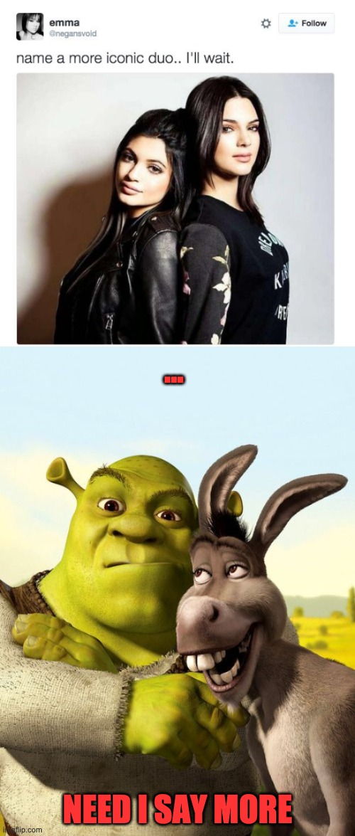 name a more iconic duo...done | ... NEED I SAY MORE | image tagged in name a more iconic duo,shrek,donkey,memes,funny memes,funny | made w/ Imgflip meme maker
