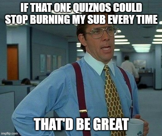That Would Be Great Meme | IF THAT ONE QUIZNOS COULD STOP BURNING MY SUB EVERY TIME THAT'D BE GREAT | image tagged in memes,that would be great | made w/ Imgflip meme maker