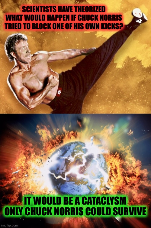 End of the World | SCIENTISTS HAVE THEORIZED WHAT WOULD HAPPEN IF CHUCK NORRIS TRIED TO BLOCK ONE OF HIS OWN KICKS? IT WOULD BE A CATACLYSM ONLY CHUCK NORRIS C | image tagged in chuck norris,memes,end of the world,apocalypse,roundhouse kick chuck norris | made w/ Imgflip meme maker