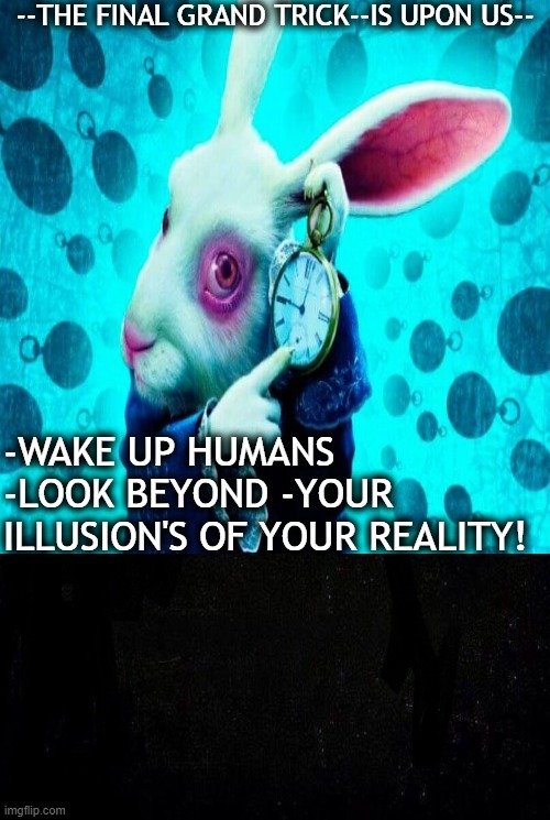 --THE FINAL GRAND TRICK--IS UPON US--; -WAKE UP HUMANS -LOOK BEYOND -YOUR ILLUSION'S OF YOUR REALITY! | image tagged in craig | made w/ Imgflip meme maker