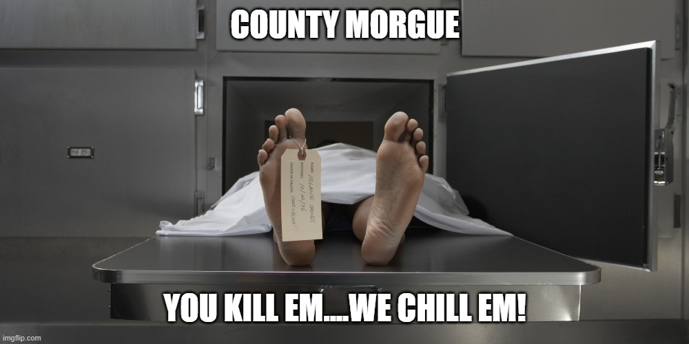 Morgue feet | COUNTY MORGUE YOU KILL EM....WE CHILL EM! | image tagged in morgue feet | made w/ Imgflip meme maker