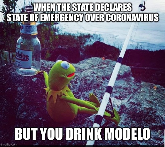 WHEN THE STATE DECLARES STATE OF EMERGENCY OVER CORONAVIRUS; BUT YOU DRINK MODELO | image tagged in coronavirus,corona virus,corona,kermit,kermit the frog,drunk kermit | made w/ Imgflip meme maker