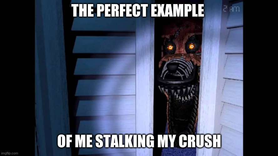 Foxy FNaF 4 |  THE PERFECT EXAMPLE; OF ME STALKING MY CRUSH | image tagged in foxy fnaf 4,fnaf,fnaf 4,foxy,foxy five nights at freddy's,nightmare foxy | made w/ Imgflip meme maker