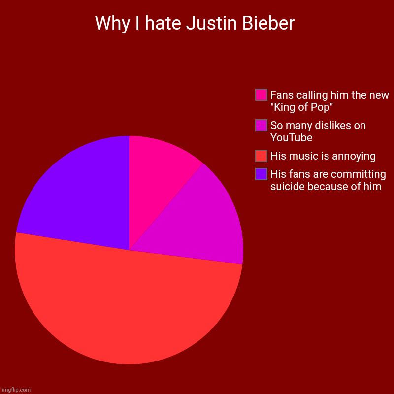 Why I hate Justin Bieber | His fans are committing suicide because of him, His music is annoying, So many dislikes on YouTube, Fans calling  | image tagged in charts,pie charts | made w/ Imgflip chart maker