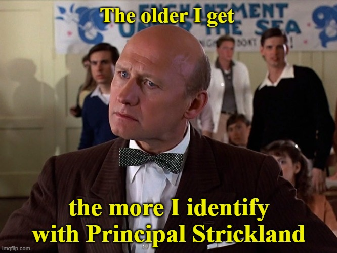 I blame the slackers in my life |  The older I get; the more I identify with Principal Strickland | image tagged in memes,principal strickland,back to the future,slackers | made w/ Imgflip meme maker