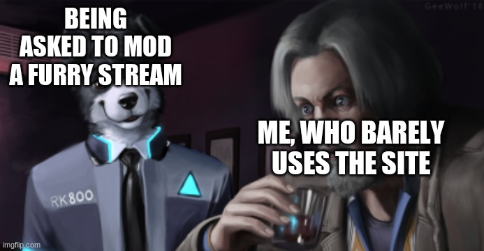 Furry Surprise |  BEING ASKED TO MOD A FURRY STREAM; ME, WHO BARELY USES THE SITE | image tagged in furry surprise | made w/ Imgflip meme maker