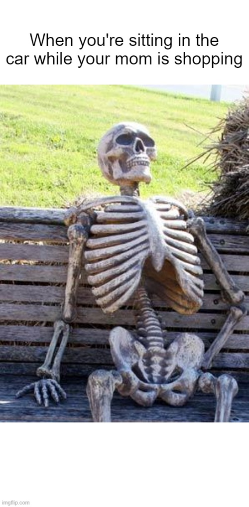 Waiting Skeleton |  When you're sitting in the car while your mom is shopping | image tagged in memes,waiting skeleton | made w/ Imgflip meme maker