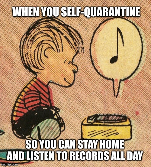 We're Going To Have A Good Time |  WHEN YOU SELF-QUARANTINE; SO YOU CAN STAY HOME AND LISTEN TO RECORDS ALL DAY | image tagged in coronavirus,corona virus,corona,self quarantine,quarantine,playing vinyl records | made w/ Imgflip meme maker