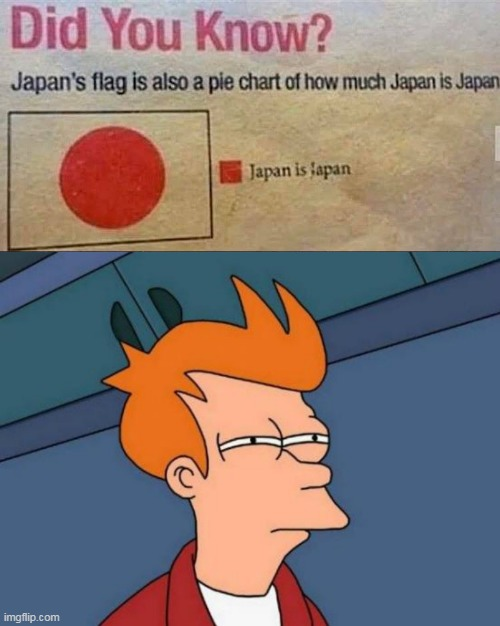 . | image tagged in memes,futurama fry,japan,pie charts,funny | made w/ Imgflip meme maker
