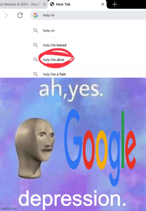 Google, why? | image tagged in stonks,google,depression,help | made w/ Imgflip meme maker
