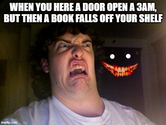 Oh No |  WHEN YOU HERE A DOOR OPEN A 3AM, BUT THEN A BOOK FALLS OFF YOUR SHELF | image tagged in memes,oh no | made w/ Imgflip meme maker