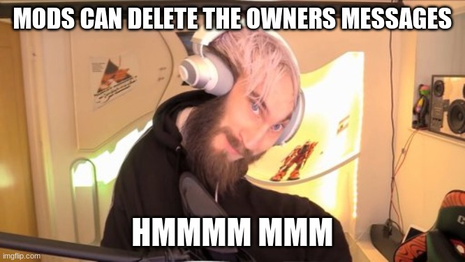 MODS CAN DELETE THE OWNERS MESSAGES HMMMM MMM | image tagged in pewdiepie hmm | made w/ Imgflip meme maker