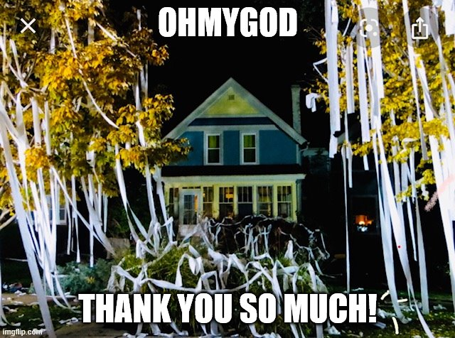 thank you for the toilet paper | OHMYGOD THANK YOU SO MUCH! | image tagged in covid-19,no more toilet paper,toilet paper,coronavirus,panic,corona | made w/ Imgflip meme maker