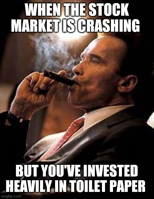 arnold cigar | WHEN THE STOCK MARKET IS CRASHING BUT YOU'VE INVESTED HEAVILY IN TOILET PAPER | image tagged in arnold cigar | made w/ Imgflip meme maker