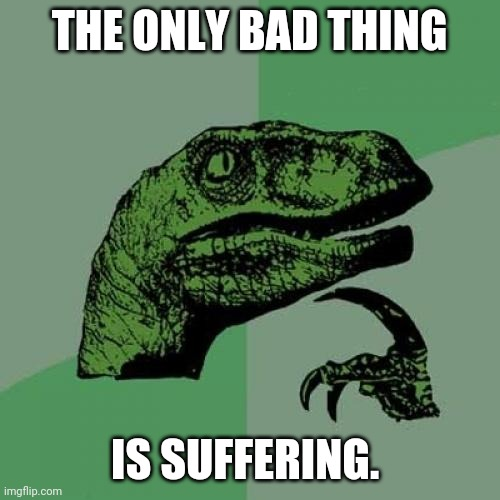 Anyone wanna discuss? |  THE ONLY BAD THING; IS SUFFERING. | image tagged in memes,philosoraptor,suffering,philosophy,philosophy dinosaur | made w/ Imgflip meme maker