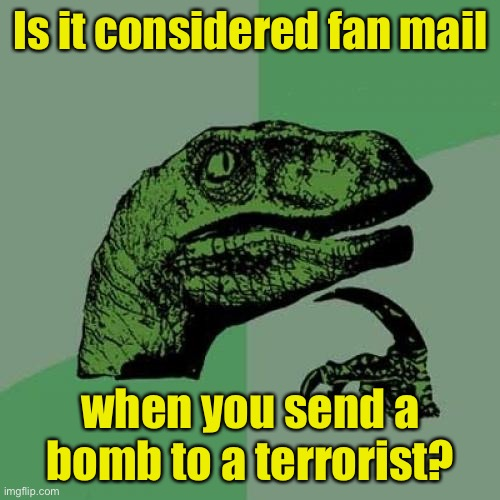 Philosoraptor Meme |  Is it considered fan mail; when you send a bomb to a terrorist? | image tagged in memes,philosoraptor | made w/ Imgflip meme maker