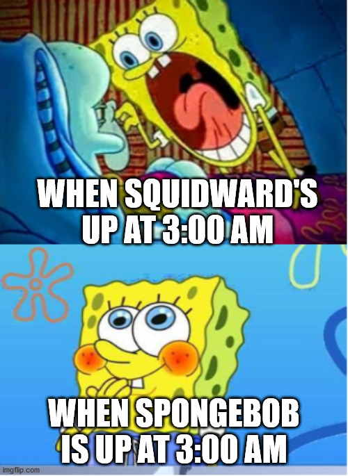 Spongebob Yell/Spongebob Shy |  WHEN SQUIDWARD'S UP AT 3:00 AM; WHEN SPONGEBOB IS UP AT 3:00 AM | image tagged in spongebob yell/spongebob shy | made w/ Imgflip meme maker
