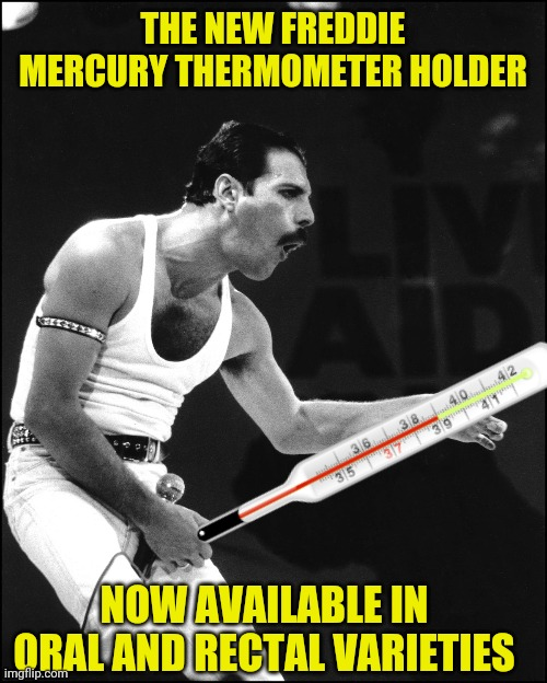 Who Wants to Live Forever |  THE NEW FREDDIE MERCURY THERMOMETER HOLDER; NOW AVAILABLE IN ORAL AND RECTAL VARIETIES | image tagged in temperature,queen,freddie mercury | made w/ Imgflip meme maker