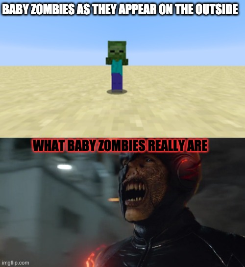 Baby Zombies are really speedy embodiments of death. Change my mind. |  BABY ZOMBIES AS THEY APPEAR ON THE OUTSIDE; WHAT BABY ZOMBIES REALLY ARE | image tagged in the flash,minecraft,zombies,memes | made w/ Imgflip meme maker