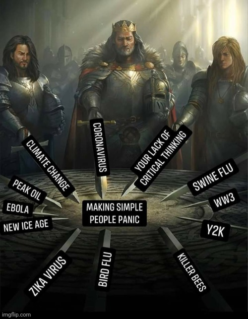 King Corona and the knights of the socialist round table... | image tagged in coronavirus,fear,panic,socialism,knights of the round table | made w/ Imgflip meme maker