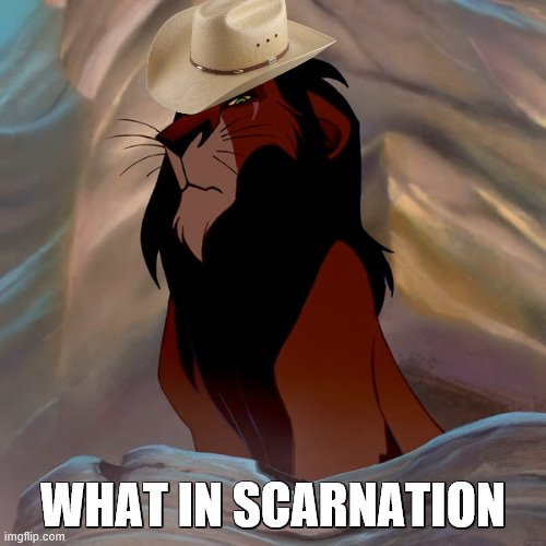 IT'S SCAR NOON |  WHAT IN SCARNATION | image tagged in cowboys,scar,lionking,whatintarnation | made w/ Imgflip meme maker