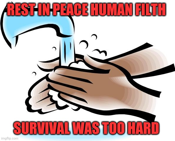 Seems like an easy solution | REST IN PEACE HUMAN FILTH SURVIVAL WAS TOO HARD | image tagged in washing hands,coronavirus,pandemic,extinction,sanitation | made w/ Imgflip meme maker