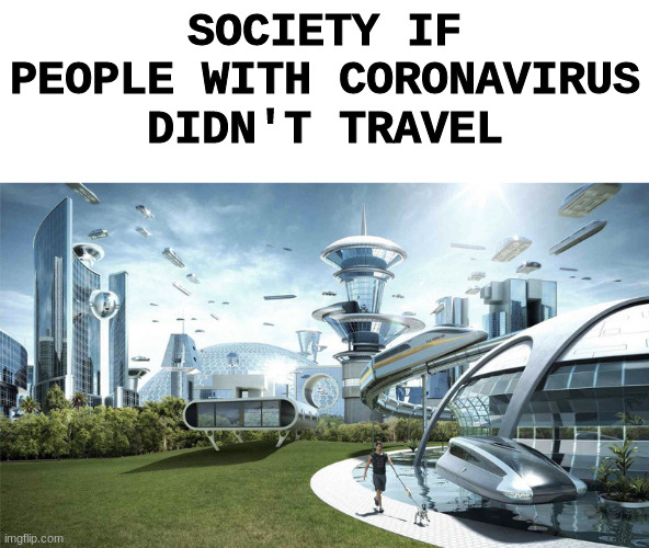 The future world if | SOCIETY IF PEOPLE WITH CORONAVIRUS DIDN'T TRAVEL | image tagged in the future world if | made w/ Imgflip meme maker