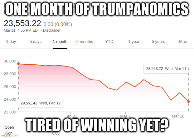 Donald and the Dow - Fail! |  ONE MONTH OF TRUMPANOMICS; TIRED OF WINNING YET? | image tagged in donald trump,donald trump approves,gop,build a wall | made w/ Imgflip meme maker