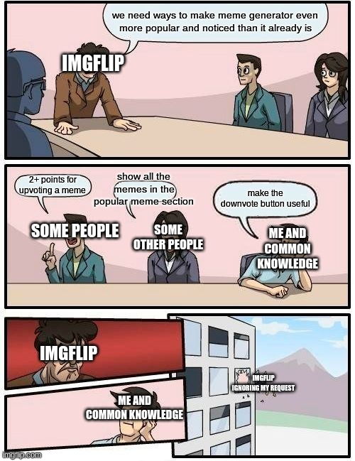 I Think This Would Be Good For The Imgflip Community | we need ways to make meme generator even more popular and noticed than it already is 2+ points for upvoting a meme show all the memes in the | image tagged in memes,boardroom meeting suggestion | made w/ Imgflip meme maker