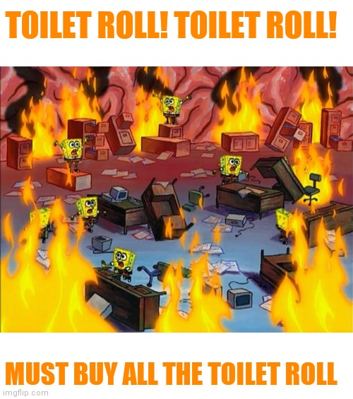 I get people have to take precautions for the virus but things are getting crazy. Be safe but be sensible. |  TOILET ROLL! TOILET ROLL! MUST BUY ALL THE TOILET ROLL | image tagged in crazy people,calm down,selfish,is this a virus or an apocalypse,idiots,be safe but be sensible | made w/ Imgflip meme maker