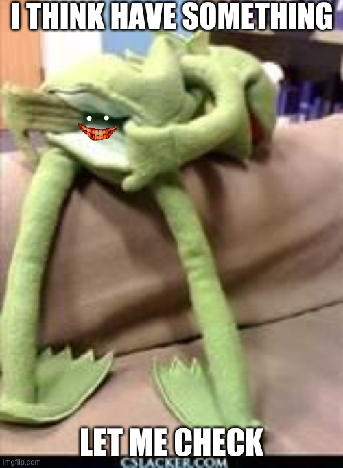 Gay kermit |  I THINK HAVE SOMETHING; LET ME CHECK | image tagged in gay kermit | made w/ Imgflip meme maker