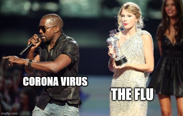 Imma let you infect, but |  CORONA VIRUS; THE FLU | image tagged in memes,interupting kanye | made w/ Imgflip meme maker
