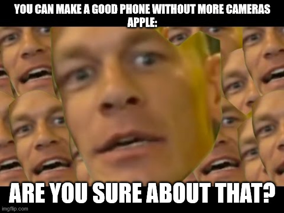 Are you sure about that |  YOU CAN MAKE A GOOD PHONE WITHOUT MORE CAMERAS APPLE:; ARE YOU SURE ABOUT THAT? | image tagged in are you sure about that | made w/ Imgflip meme maker