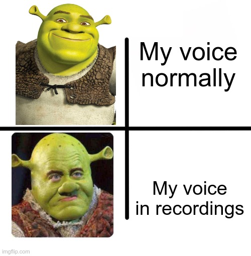 Happens... |  My voice normally; My voice in recordings | image tagged in memes,blank starter pack,shrek,voice,relatable,shrek sexy face | made w/ Imgflip meme maker