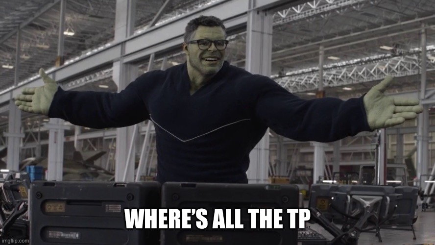 Hulk time travel |  WHERE'S ALL THE TP | image tagged in hulk time travel | made w/ Imgflip meme maker