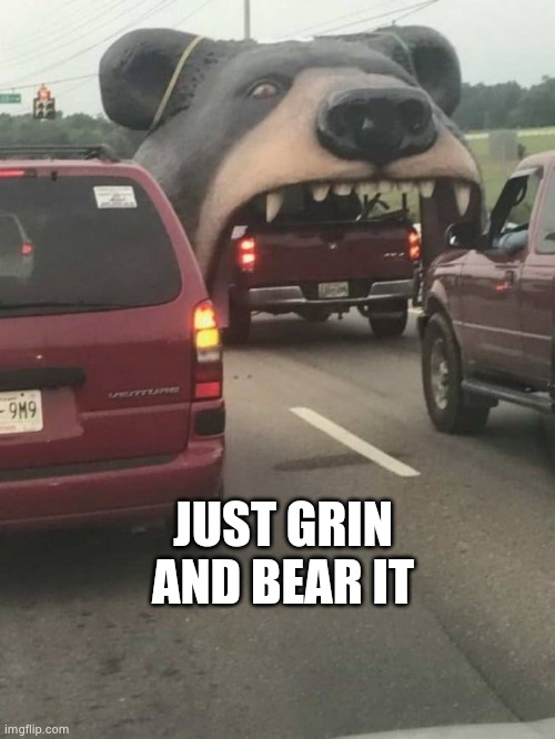 JUST GRIN AND BEAR IT | made w/ Imgflip meme maker