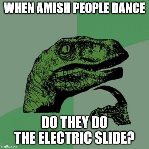 Philosoraptor |  WHEN AMISH PEOPLE DANCE; DO THEY DO THE ELECTRIC SLIDE? | image tagged in memes,philosoraptor,amish,dancing | made w/ Imgflip meme maker