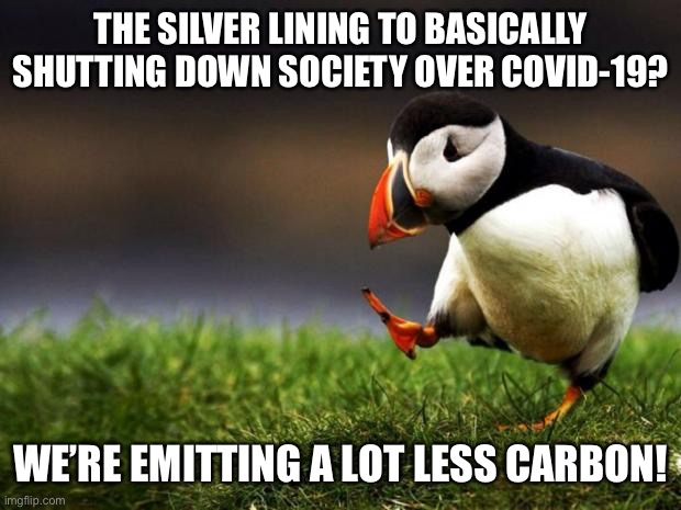 It's been a total overreaction: but! If you're looking for bright spots in this mess, here's one |  THE SILVER LINING TO BASICALLY SHUTTING DOWN SOCIETY OVER COVID-19? WE'RE EMITTING A LOT LESS CARBON! | image tagged in unpopular opinion puffin,climate change,global warming,carbon footprint,covid-19,coronavirus | made w/ Imgflip meme maker