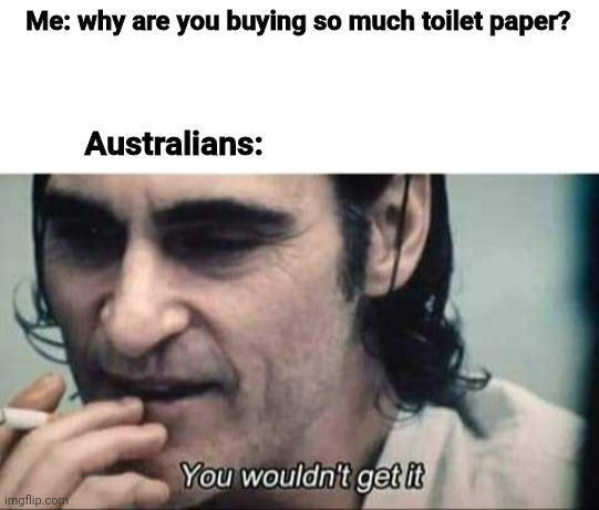 You wouldn't get it | Me: why are you buying so much toilet paper? Australians: | image tagged in you wouldn't get it | made w/ Imgflip meme maker