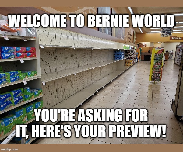 Welcome to Bernie World |  WELCOME TO BERNIE WORLD; YOU'RE ASKING FOR IT, HERE'S YOUR PREVIEW! | image tagged in bernie sanders,coronavirus,communism,socialism,communist socialist,politics | made w/ Imgflip meme maker