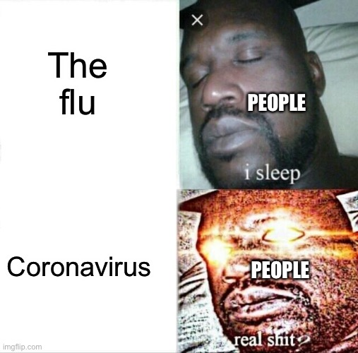 Sleeping Shaq |  The flu; PEOPLE; Coronavirus; PEOPLE | image tagged in memes,sleeping shaq | made w/ Imgflip meme maker