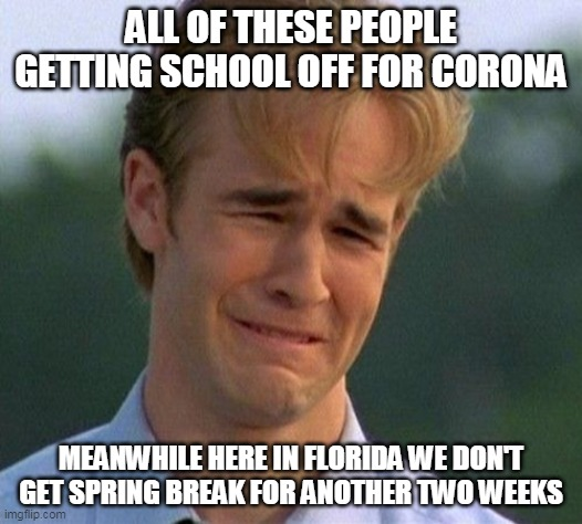 It's a sad time for us |  ALL OF THESE PEOPLE GETTING SCHOOL OFF FOR CORONA; MEANWHILE HERE IN FLORIDA WE DON'T GET SPRING BREAK FOR ANOTHER TWO WEEKS | image tagged in memes,1990s first world problems,true story bro,sad but true | made w/ Imgflip meme maker